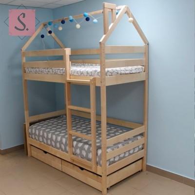 Детская кровать-домик двухъярусная