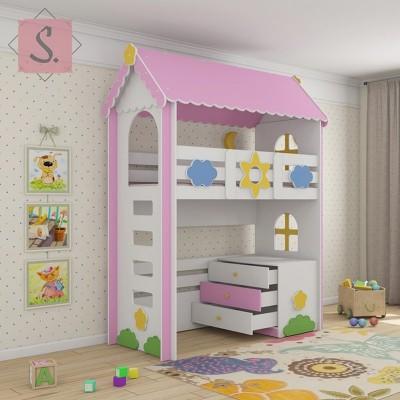 Детская кровать чердак Ромашка + комод