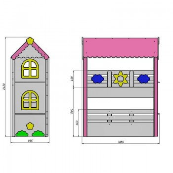 Кровать чердак Ромашка + комод