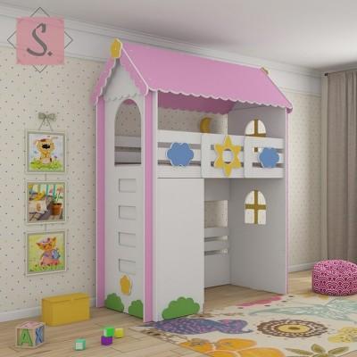 Детская кровать чердак Ромашка + шкаф