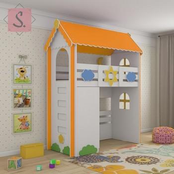 Кровать чердак Ромашка + шкаф