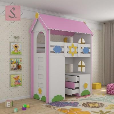 Детская кровать чердак Ромашка + шкаф + комод