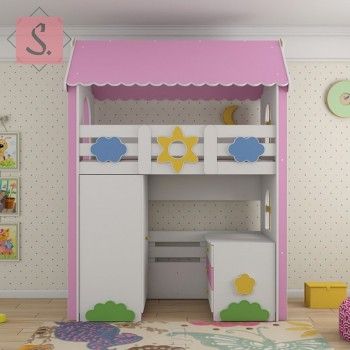 Кровать чердак Ромашка + шкаф + комод