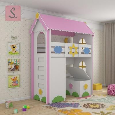 Детская кровать чердак Ромашка + шкаф + ящик игрушек