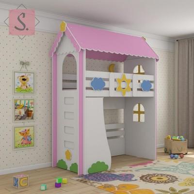 Детская кровать чердак Ромашка + стеллаж