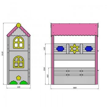 Кровать чердак Ромашка + стеллаж