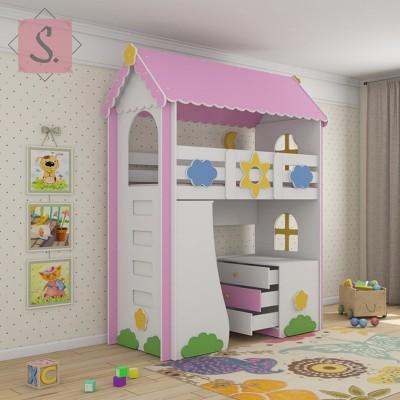 Детская кровать чердак Ромашка + стеллаж + комод