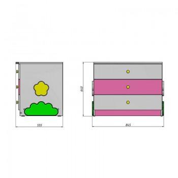 Кровать чердак Ромашка + стеллаж + комод