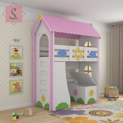 Детская кровать чердак Ромашка + стеллаж+ ящик игрушек