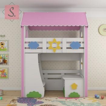 Кровать чердак Ромашка + стеллаж + ящик игрушек