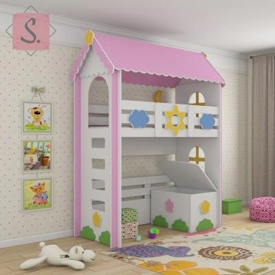Детская кровать чердак Ромашка + ящик игрушек