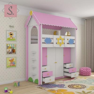 Детская кровать Ромашка гардероб