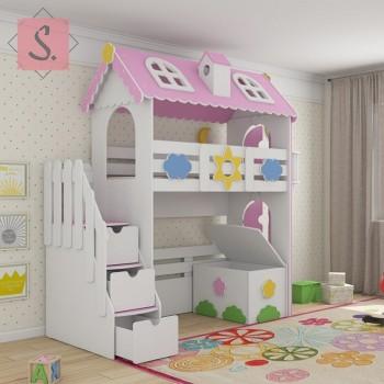 Кровать чердак Коттедж + ящик игрушек