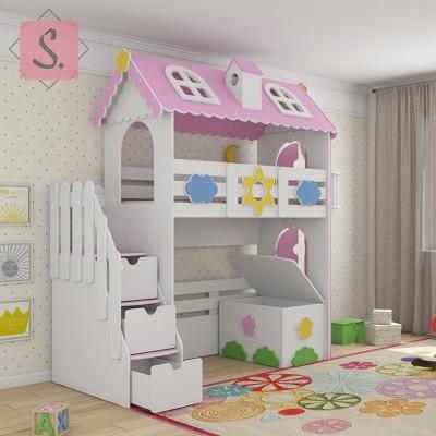 Детская кровать чердак Коттедж + ящик игрушек