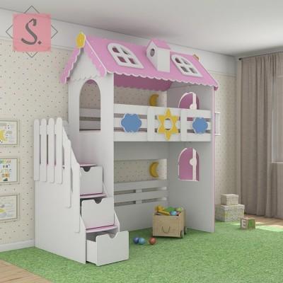 Детская кровать коттедж чердак