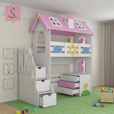 Детская кровать чердак Коттедж + комод