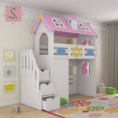 Детская кровать чердак Коттедж + шкаф
