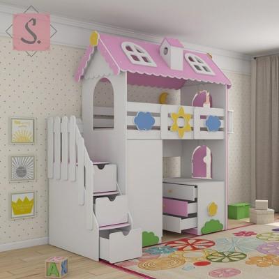 Детская кровать чердак Коттедж + шкаф + комод