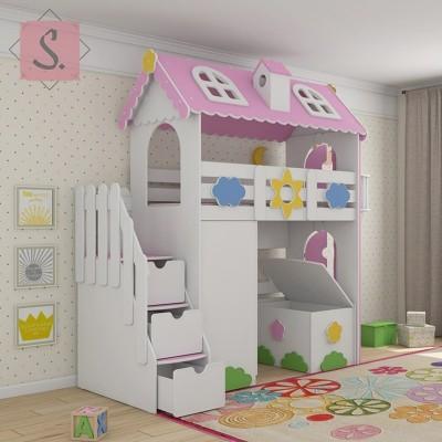 Детская кровать чердак Коттедж + шкаф + ящик