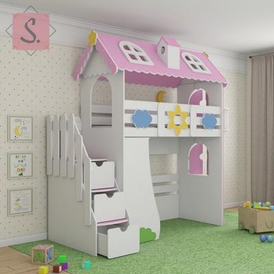 Детская кровать чердак Коттедж + стеллаж