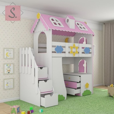 Детская кровать чердак Коттедж + стеллаж + комод