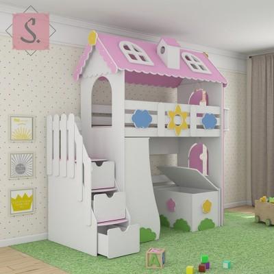 Детская кровать чердак Коттедж + стеллаж + ящик игрушек