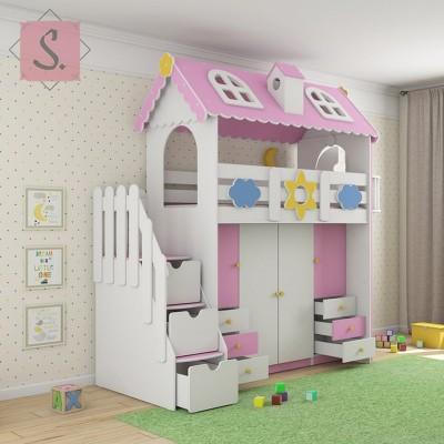 Детская кровать Коттедж гардероб