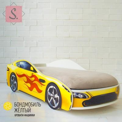 Детская кроватка Машинка - Бондомобиль желтый