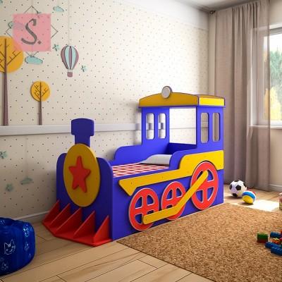 Детская кровать машинка Паровоз